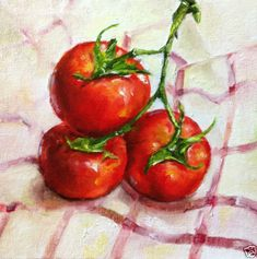 Sold - Original Oil Painting Nina R.Aide Red Vine Tomatoes Daily Painting Kitchen Art