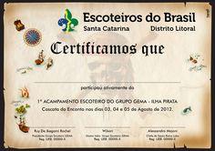 Certificado de Acampamento Escoteiro - Tema Pirata (2011)