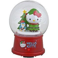 Sanrio -Musical Light-Up Hello Kitty with Penguin Christmas Snow Globe