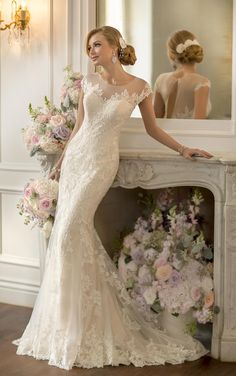 Vintage Lace Fit and Flare Wedding Dress