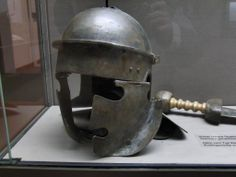 Roman helmet, Imperial type. c. 100CE  Looks like a puzzle piece on sides