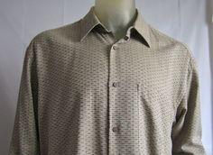 Jhane Barnes Menswear LS Woven Cotton Blend Button Front Shirt Brown Tan Large #JhaneBarnes #ButtonFront
