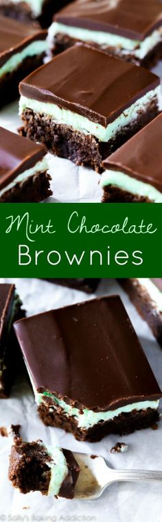 Thick and fudgy brownies layered with sweet mint frosting and easy chocolate ganache. These classic mint chocolate brownies will blow your mind; they're the best! Recipe on sallysbakingaddiction.com