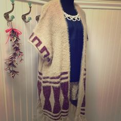 FLASH SALE! Tribal print OSFA fuzzy open cardigan So soft and cozy with burgundy print on cream w/fringe makes this an easy piece to do with all the latest fashion trends! Tea n Cup Sweaters Cardigans
