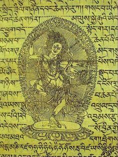 Prayer Flag: Kurukulle (Tib. Ri Jyema) is an important dakini in the tantric Buddhist tradition. Shown as a beautiful woman, she is a bit wrathful, wildly charming, and very powerful. Kurukulle has the ability to bring people what is desired, and some feel that her practices will solve their worldly problems with regard to romance & material objects. This may indeed be so, but she can also bless the devout with ultimate love, compassion, spiritual abundance & well being.