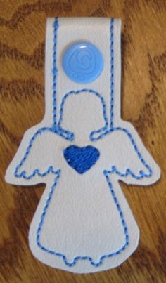 Snap Tab Key Fob - Angel Blue Heart with Pale Blue Snap by ghostwalk on Etsy