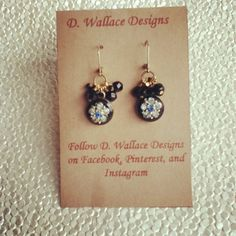 dwallacedesigns; Vintage repurposed pieces from a necklace placed on a mother of pearl button and decorated with vintage black faceted bead earrings. $24 on Etsy