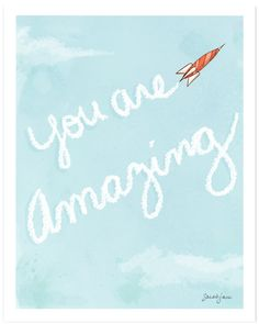 """""""You Are Amazing"""" art print for boy room by Sarah Jane Studios"""