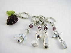 Wine Lovers' NonSnag Stitch Markers by winemakerssister on Etsy, $9.95