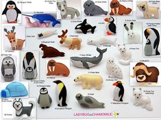 ARCTIC ANIMALS. POLAR ANIMALS. (The price is per 1 item) 1.Baby seal 2.Reindeer 3.Orca whale 4.Puffin 5.Arctic hare 6.Elephant seal 7.Grey whale 8.Beluga 9.Polar fox - sitting 10.Walrus 11.Polar bear 12.Snowy owl 13.MuskOx 14.Penguin baby 15.Emperor penguin 16.Seal 17.Macaroni