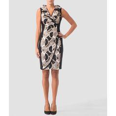 Joseph Ribkoff dress ($265) ❤ liked on Polyvore featuring dresses, multicolored, joseph ribkoff, lining dress, zip back dress, zipper back dress and lined dress