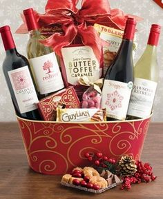 christmas wonder wine quartet basket share the magnificence of the holidays with four fabulous wines