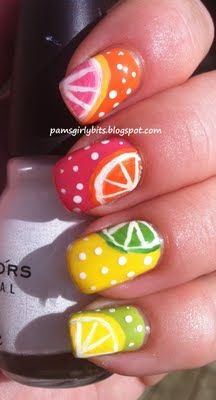Summer nails. Fruit slices. Cute!