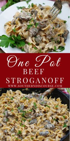 Easy One Pot Beef Stroganoff - southern discourse Easy One Pot Meals, Fast Easy Meals, Pasta Dishes, Food Dishes, Beef Dishes, Southern Recipes, Southern Food, Southern Comfort, Beef Recipes