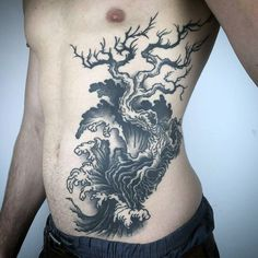 Mens Tree And Ocean Amazing Ribs Tattoo With Black And Grey Ink