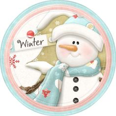 decoupage snowman round