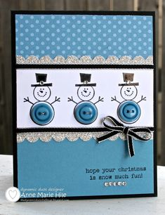 Stampin' Up! Christmas by Anne Marie Hile at Stampin' Anne: Button Buddies Snowmen - cutest xmas cards I've seen in a while! Homemade Christmas Cards, Handmade Christmas, Homemade Cards, Christmas Diy, Xmas Cards, Holiday Cards, Button Christmas Cards, Greeting Cards, Snowman Cards