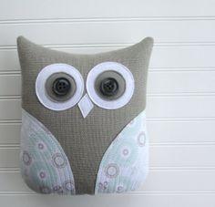 owl pillow, pastel mint green and grey nursery decor, Etsy, $36.00