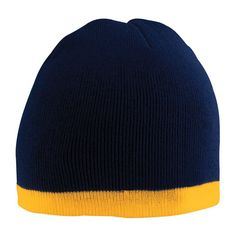 Knit Beanie, Contrasting stripe at bottom, 2 layers of 100% acrylic knit, close-fitting, 15-colors. Free shipping, custom embroidery True to Size Apparel