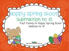 """Hoppy Spring Scoot is a fun and exciting game that gets all of your students moving. It can be used as a preview to see what your students already know, as a review or as an assessment after teaching subtraction facts to 10. $ Includes: Directions to """"Scoot"""" 24 task cards and 4 Take a Break Cards if you have more than 24 students A recording sheet Answer Key Egg manipulatives"""