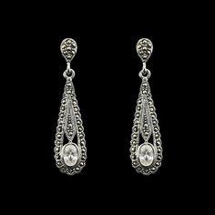 edwardian diamond sapphire pendant  | Brinco Balanço Gota com Marcassita - Prata Fina - Joias em Prata