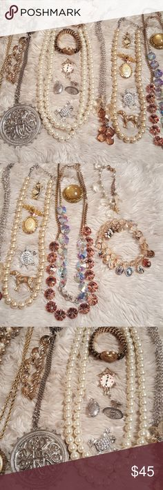Vintage jewelry bundle A mix of old and new jewelry  Vintage pins, some vintage necklaces New styles of pearl necklaces and bracelets  Urban outfitters  Forever 21 Zara Pearls Vintage Jewelry Necklaces