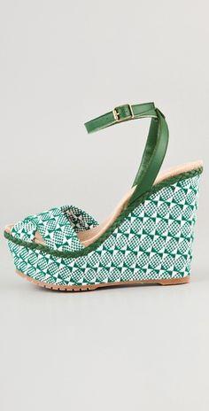 15fda4ccbb0 green woven shoes High Wedges