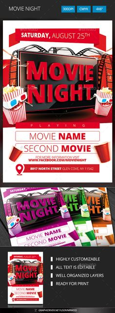 Movie Time Flyer Flyer template, Ai illustrator and Fonts - movie night flyer template