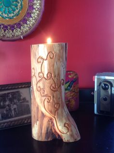 Red diamond willow candleholder