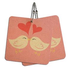 Sweet Kissing Birds in Love Pink Wood MDF 4' x 4' Mini Signs Gift Tags *** Details can be found by clicking on the image.