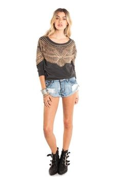 Grey Sweater Gold Beads Bohemian Style Outfit Casual Marley #Jacket- #Sequence #Beaded - Amuse Society