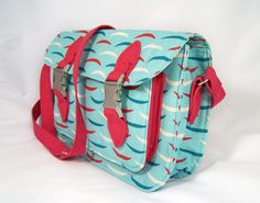 """""""Too Cool for School Satchel"""" pattern from the book A Bag for All Reasons by Lisa Lam. Skiff fabric print."""