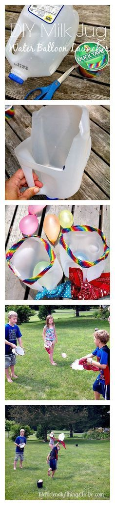 Milk Jug Water Balloon Launch Summer Game For Kids! Also could use bean bags or ping pong balls. Adapt it for your own fun!!!