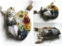 polymer clay ferret and painter's tray necklace! so cute!