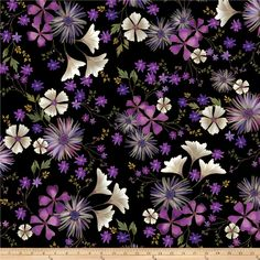 Kanvas Enchanted Garden Floral Black from @fabricdotcom  Designed by Greta Lynn for Kanvas Studio in association with Benartex Fabric, this cotton print fabric is perfect for quilting, apparel, and home decor accents. Colors include shades of purple, blue, cream, green, black and metallic gold.