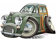 Morris Minor Traveller - woody | by car2oonz Morris Minor, Morris Traveller, Garage Logo, Cool Car Drawings, Dope Wallpapers, Car Posters, Automotive Art, Good Old Times, Car Humor