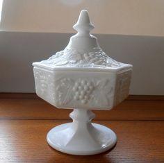 Milk Glass Pedestal Candy Dish With Lid Vintage by AlderHillFarm