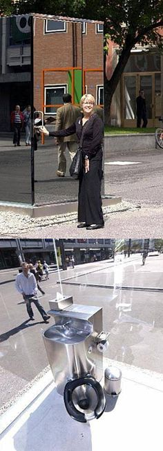 """""""Transparent"""" public toilet in Basel, Switzerland.  I think I've had this nightmare before..."""