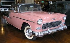 cool Pink 50's car. My dad had one like this!  me: my dads 55 chevy was orange,. ...  Stuff to Try Check more at http://autoboard.pro/2017/2016/12/20/pink-50s-car-my-dad-had-one-like-this-me-my-dads-55-chevy-was-orange-stuff-to-try/