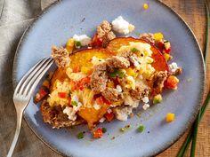 Kürbis-Schnitten mit Ei und Hüttenkäse