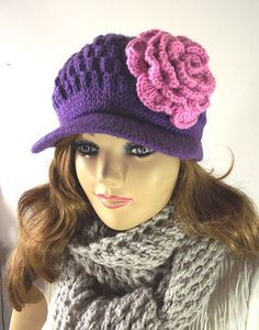 Hey, I found this really awesome Etsy listing at https://www.etsy.com/listing/198234244/purple-knitting-hat-newsboy-hat-with