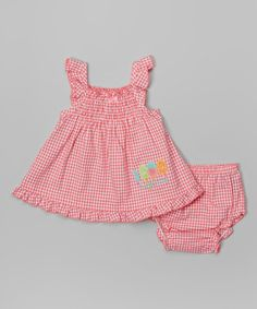 Another great find on #zulily! Pink Gingham Dress & Diaper Cover - Infant by Cudlie #zulilyfinds