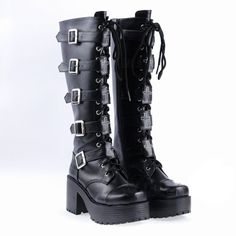 Demonia Black Leather Boots High Heel Punk Gothic Rock metallic