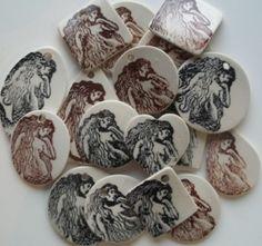 Mermaid Handmade ceramic stoneware #pendant