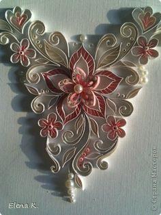 Part 4 of 4---Картина панно рисунок Квиллинг Узор на свадебном платье Бумажные полосы фото 6