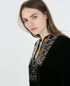 ZARA - COLLECTION SS15 - HAND EMBROIDERED VELVET DRESS