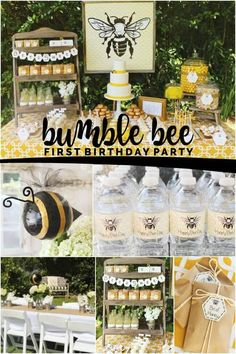first birthday girl Buzz over and enjoy this bumble bee themed first birthday party! I am adoring the vintage feel of this first birthday party for a boy! The beautiful yellow is pe First Birthday Themes, Baby Girl 1st Birthday, Boy Birthday Parties, First Birthdays, Birthday Ideas, Birthday Fun, Outdoor Birthday, Princess Birthday, Birthday Cakes