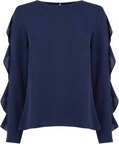 Womens bright navy frill sleeve blouse from Oasis - £32 at ClothingByColour.com