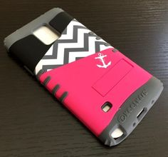 For-Samsung-Galaxy-Note-4-HARD-SOFT-RUBBER-HYBRID-CASE-PINK-GRAY-CHEVRON-ANCHOR