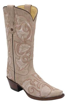 Corral Women's Bone Floral Embroidered Fashion Cowgirl Boots  - Largest selection of Corral Boots at www.HeadWestOutfitters.com.